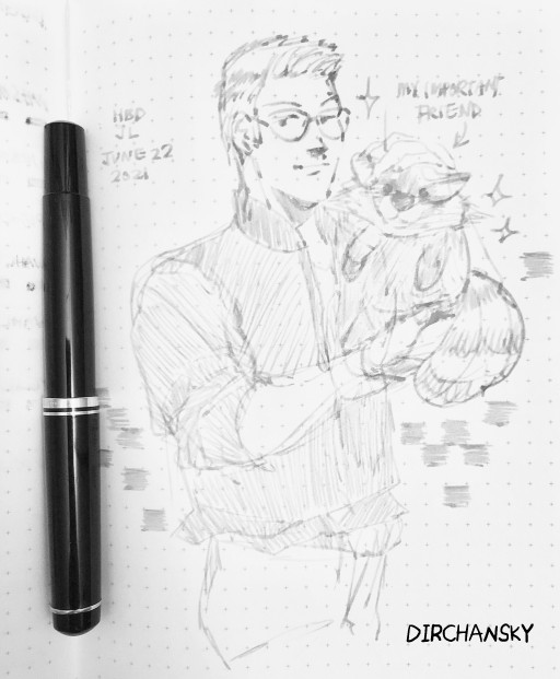 Photo of an open cross-grid notebook page, with a rough sketch of an original character (Jake) holding up a raccoon plush proudly. There is a black fountain pen on the left side, resting in the spine of the notebook.