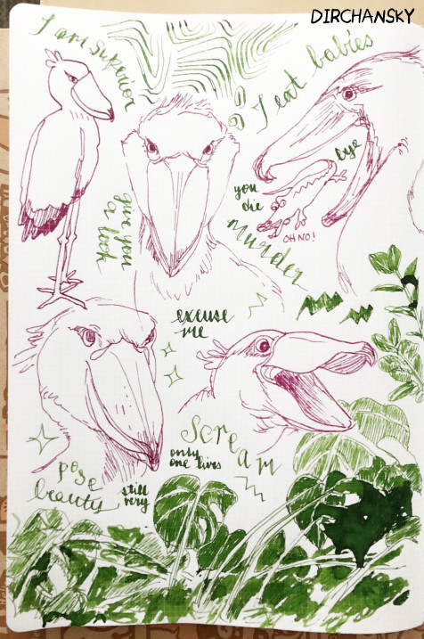 photo of various shoebill expressions and poses, drawn with purple/pink fountain pen ink, surrounded by text and leaves written in green fountain pen ink