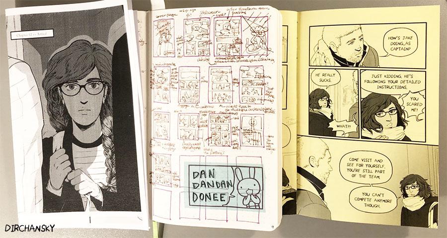 Photo of comic thumbnails and finished comic pages, featuring Sabina from Here We Are