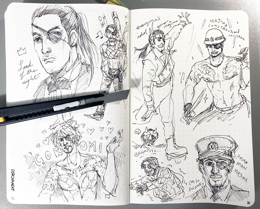 photo of a notebook spread, featuring hastily drawn sketches of Majima Goro from Yakuza