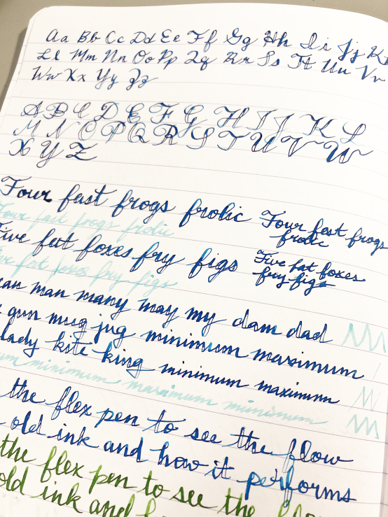Photo of subpar cursive handwriting on lined paper