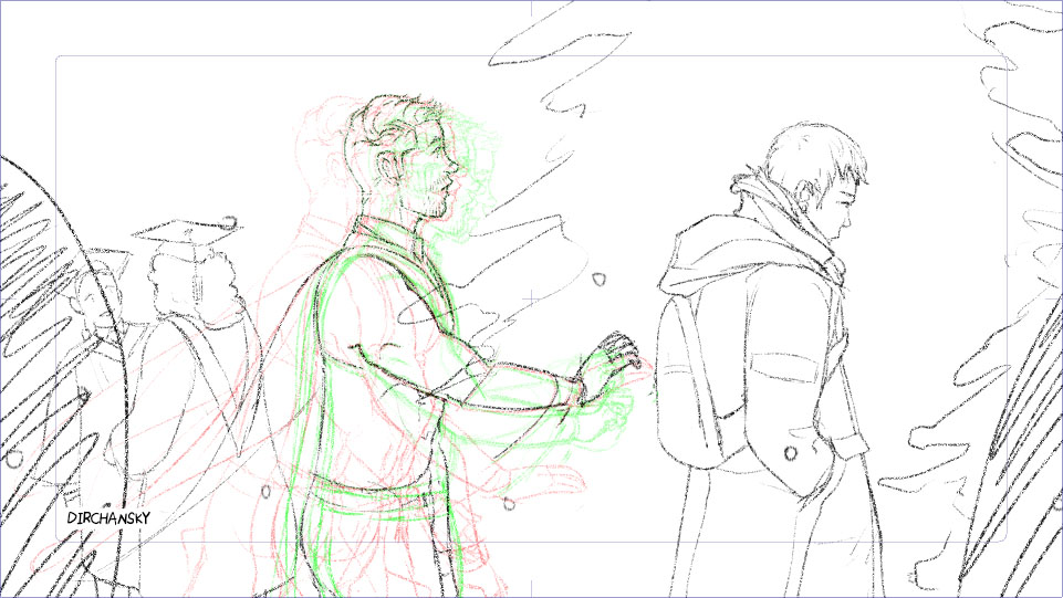 screenshot of pencil sketch of some rough animation frames, with a few steps of onion skinning on (previous frames are in red, following frames are in green lines). The drawing itself shows a character walking towards the right-hand side of the screen, reaching his arm out to another character on the right-side. There are other people in graduation gowns in the background, as well as trees.