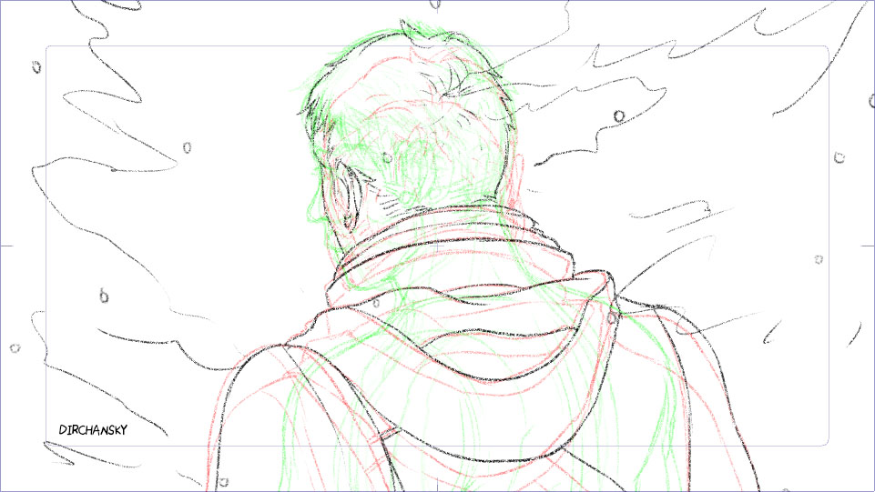 screenshot of pencil sketch of some rough animation frames, with a few steps of onion skinning on (previous frames are in red, following frames are in green lines). The drawing itself shows a character with hi back facing the viewer, progressively turning towards his left side to face the camera. in the background, there are trees and snow.