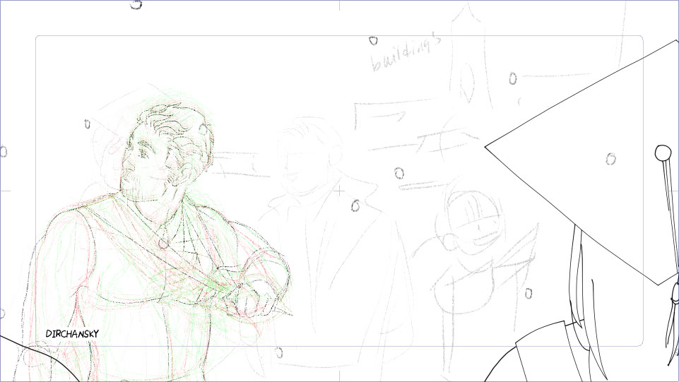 screenshot of pencil sketch of some rough animation frames, with a few steps of onion skinning on (previous frames are in red, following frames are in green lines). The drawing itself shows some people in the foreground, wearing graduation garb. In the mid-ground, an original character is tugging on his graduation gown hood with his left arm, while looking towards the left of the screen. It is snowing.