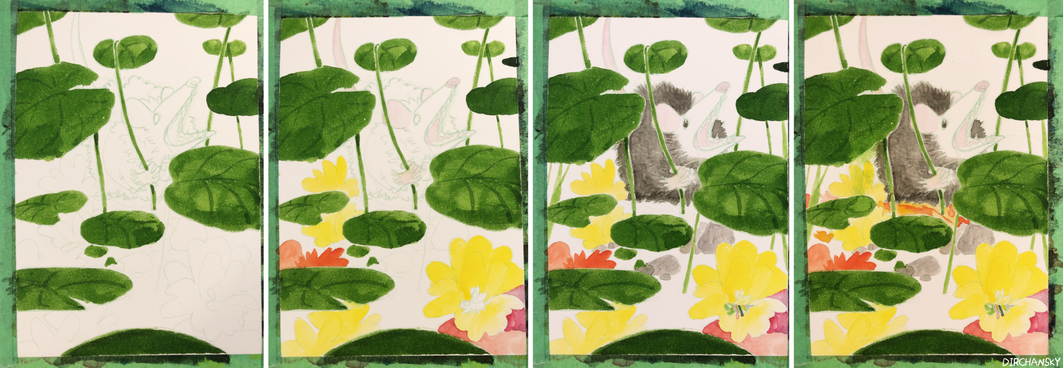 Photo collage of several work-in-progress paintings, showing progression of painting of a possum sitting amongst leaves, rocks, and flowers.