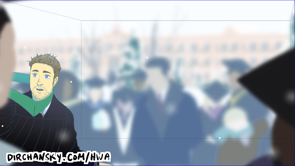 Drawing of Austin in graduation garb, entering a snowy outdoor scene, surrounded by other graduates