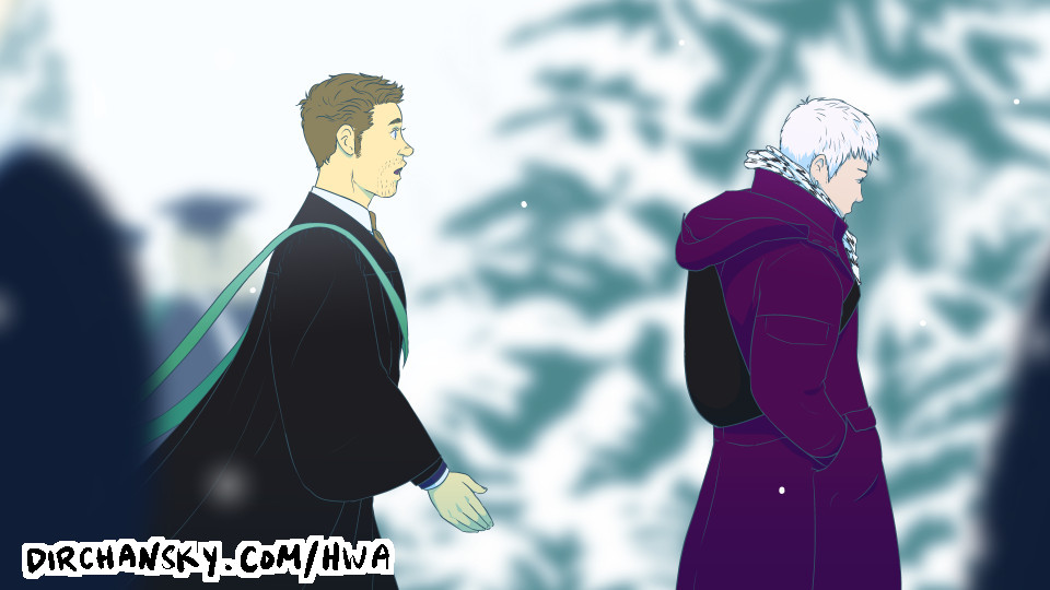 Drawing of Austin walking towards Jake, in a snowy outdoor scene, surrounded by other graduates and pine trees