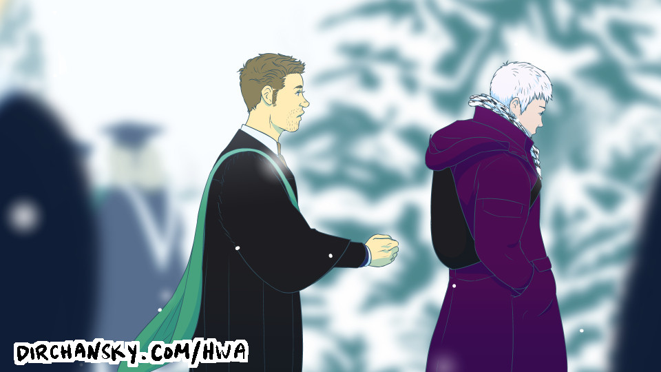 Drawing of Austin hesitating to reach out to Jake, in a snowy outdoor scene, surrounded by other graduates and pine trees
