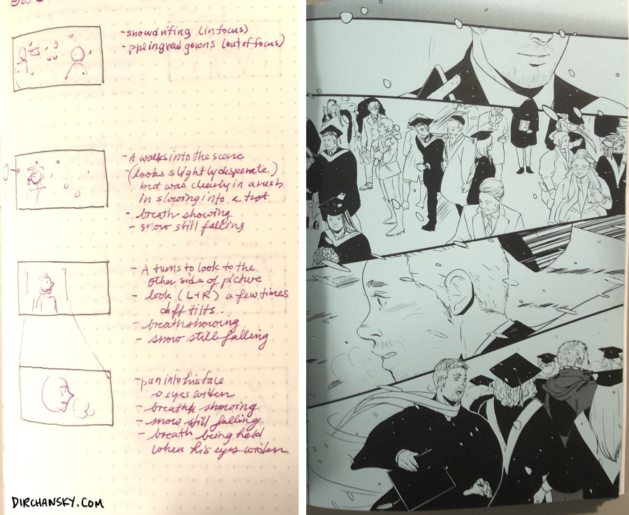 photo of storyboards for animation on the left, and the representative comic pages on the right