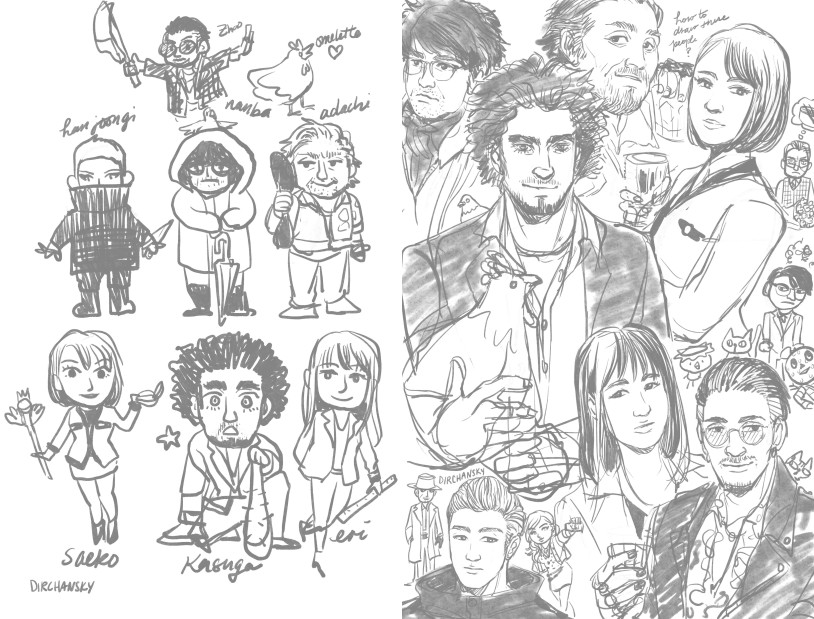 Collage of sketches of various characters from the Yakuza 7 series.