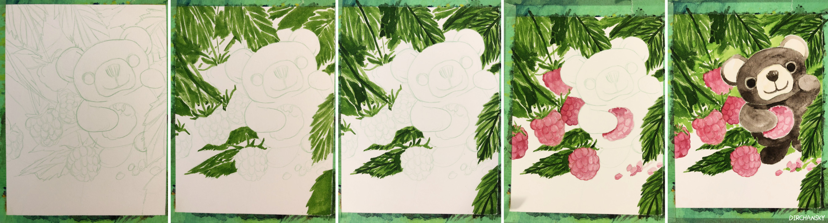 Photo collage of several work-in-progress paintings, showing progression of painting of a little brown bear nestled in a bush of raspberries and leaves