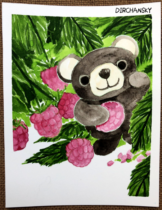 Photo of a painting of a little brown bear nestled in a bush of raspberries and leaves