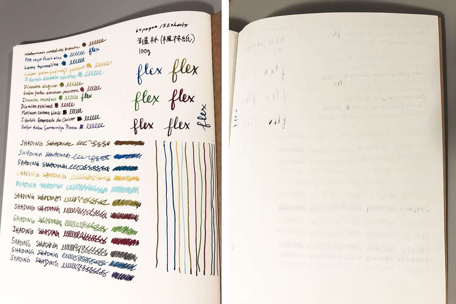 Photo collage of fountain pen ink tests on an interior page of the NTU cover. The left-image shows consecutive rows of handwriting, done in different coloured inks. The right-image shows the back-side of the page that was written to, to show that there is minmal ink bleedthrough (only when there was flex nib used, or certain inks used)