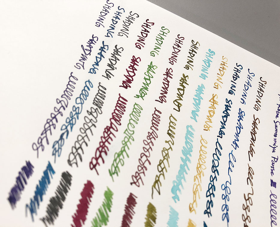 Close-up photo of fountain pen ink handwriting