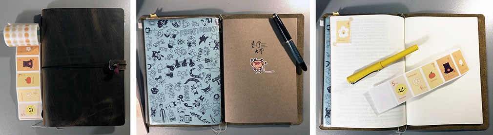 Photo collage of a dark brown leather traveler's style notebook in A5 size, which serves to hold the 2 notebooks mentioned in this post, together. The photo also shows a few fountain pens, a roll of dot-washi-tape stickers, and perforated date rectangles.