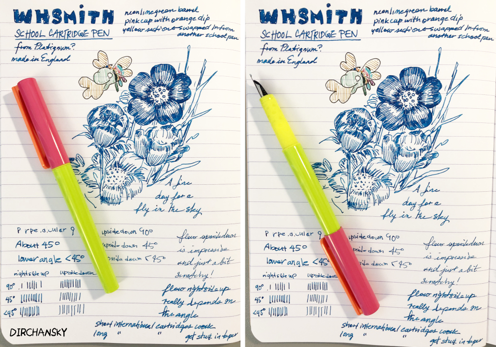 photo collage of a bright coloured fountain pen laying on top of an open ruled notebook page. The notebook page shows a drawing of a Bugslu flying around some flowers that were drawn in blue ink.