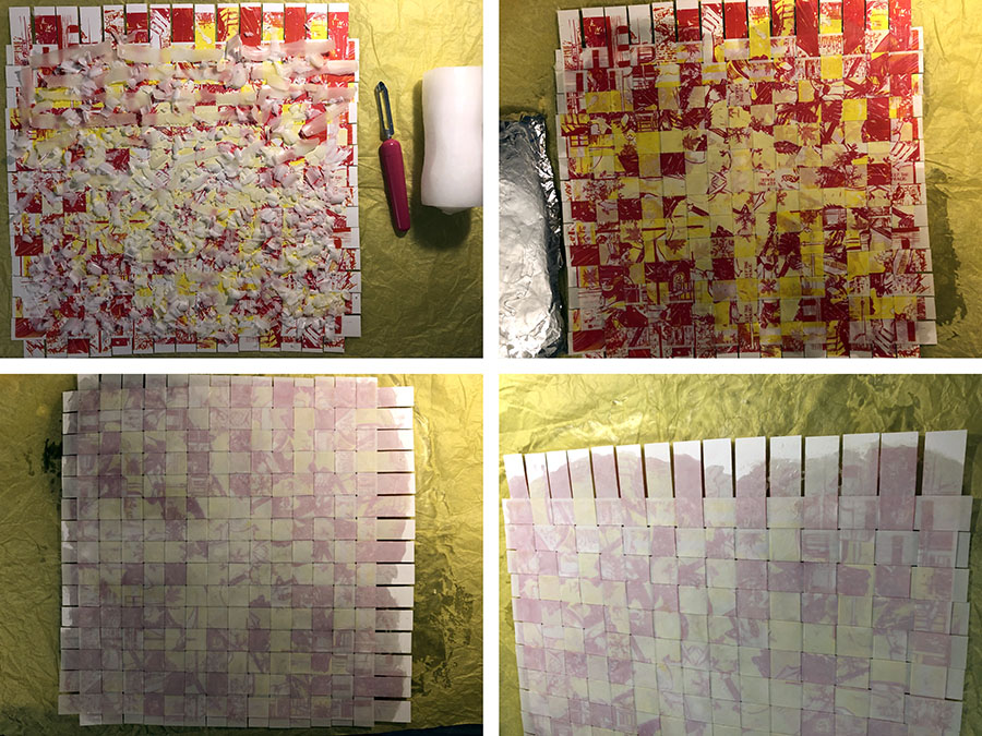 Photo collage of melting wax onto weaved paper (in yellow and red colour)