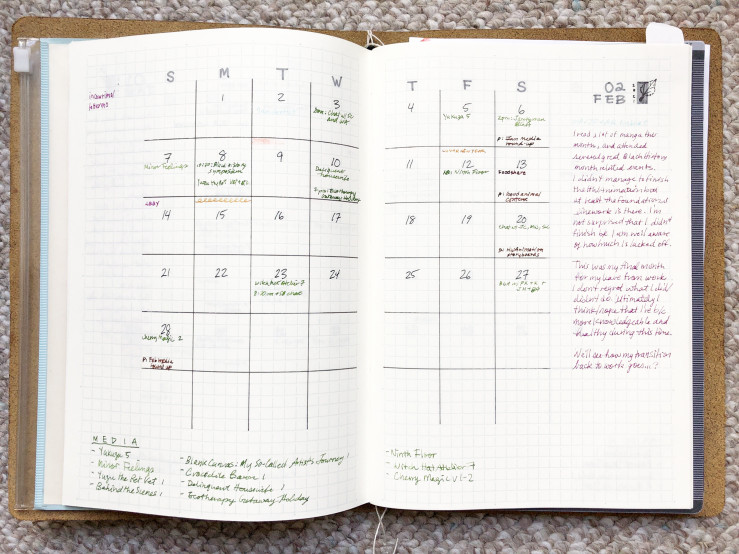 photo of a planner spread, showing the month of february
