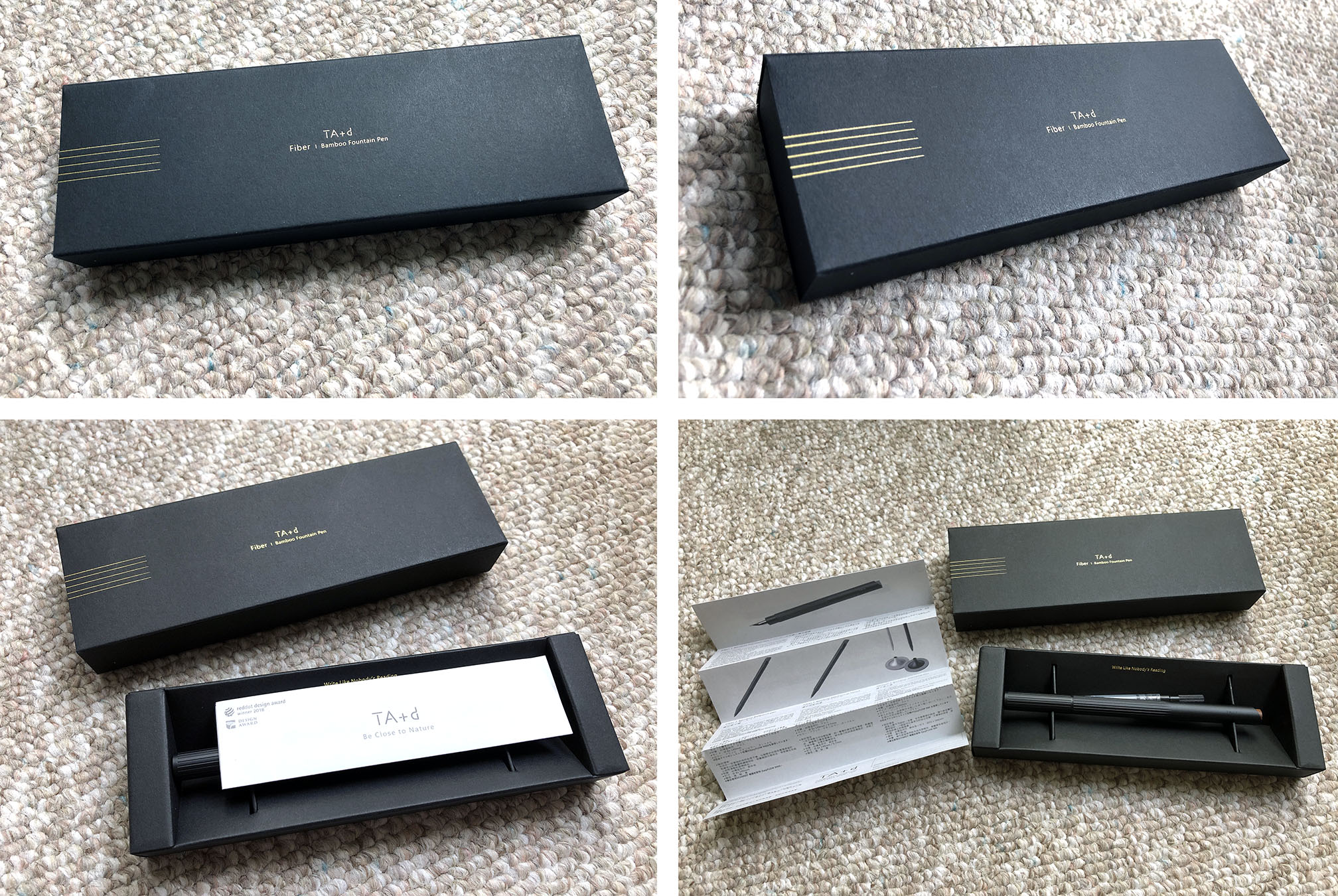 Photo collage of the packaging box of a fountain pen. The box is entirely made of paper and is primarily textured matte black with some minimal golden foil accents and text. The box was designed to be slip case that reveals the bottom box that holds the pen.
