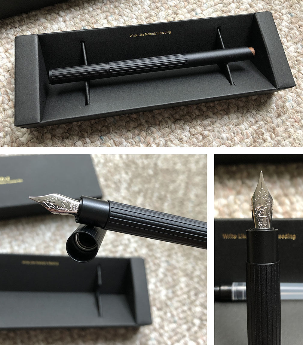Photo collage of a fountain pen in its original box packaging, as well as close up shots of the nib, cap, and grip section. The pen is matte black aluminum