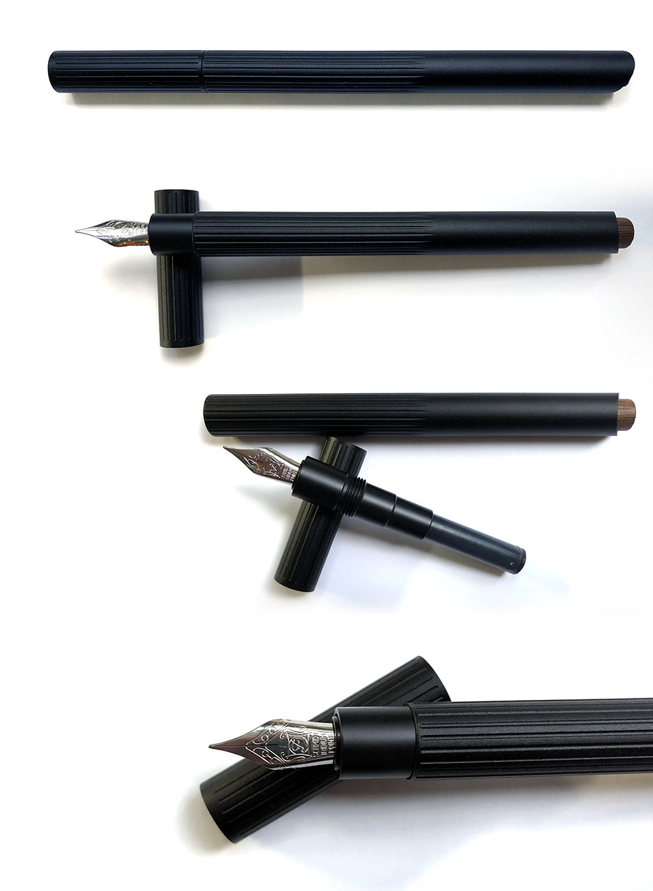 Photo collage of a fountain pen on a white background. The pen is matte black aluminum with a brown bamboo stub in the back
