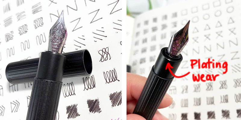 Photo collage of 2 closer-up shots of the nib and section of the pen, on a paper background with drawn patterns. The right photo shows the edge of the metal section where the black plating was worn off to reveal the original aluminum colour.